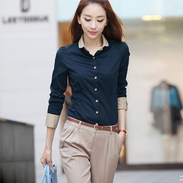 Women's Lady Stylish Long Sleeve Formal Shirt Blouse Tops Tee in ...