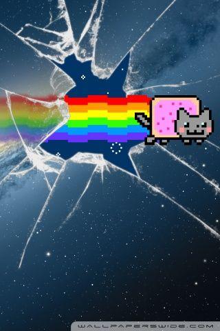 Nyan Cat Iphone Wallpaper Wallpapersafari Nyan Cat Cat Wallpaper Cat Background