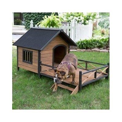 Large Dog House Pet Porch Deck Raised Floor Wood Outdoor Kennel Shelter Home Cat Large Dog House Wooden Dog House Dog House With Porch
