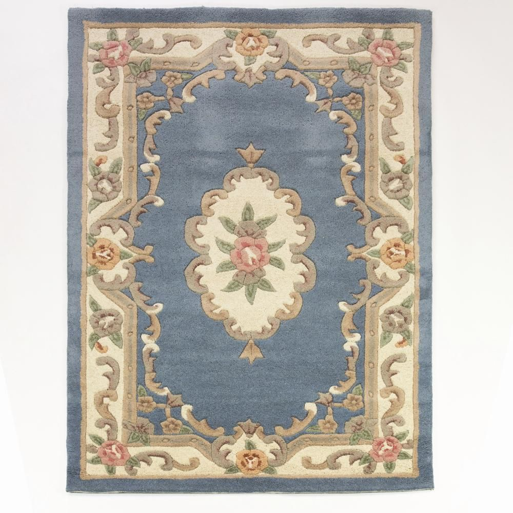 Details About Lotus Premium Blue Chinese Aubusson Wool Rug