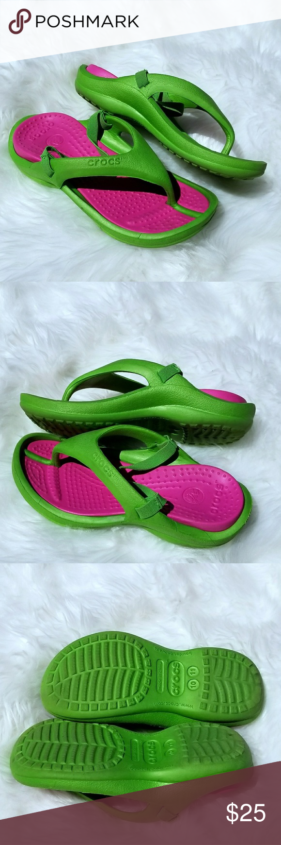 3a405bb9d62441 🎈SALE🎈CROCS Thong Slip On with Heel Straps Pink and green pre loved but