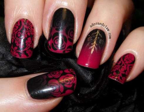 Valentines Day Nail Art- I LOVE! The roses are everything!