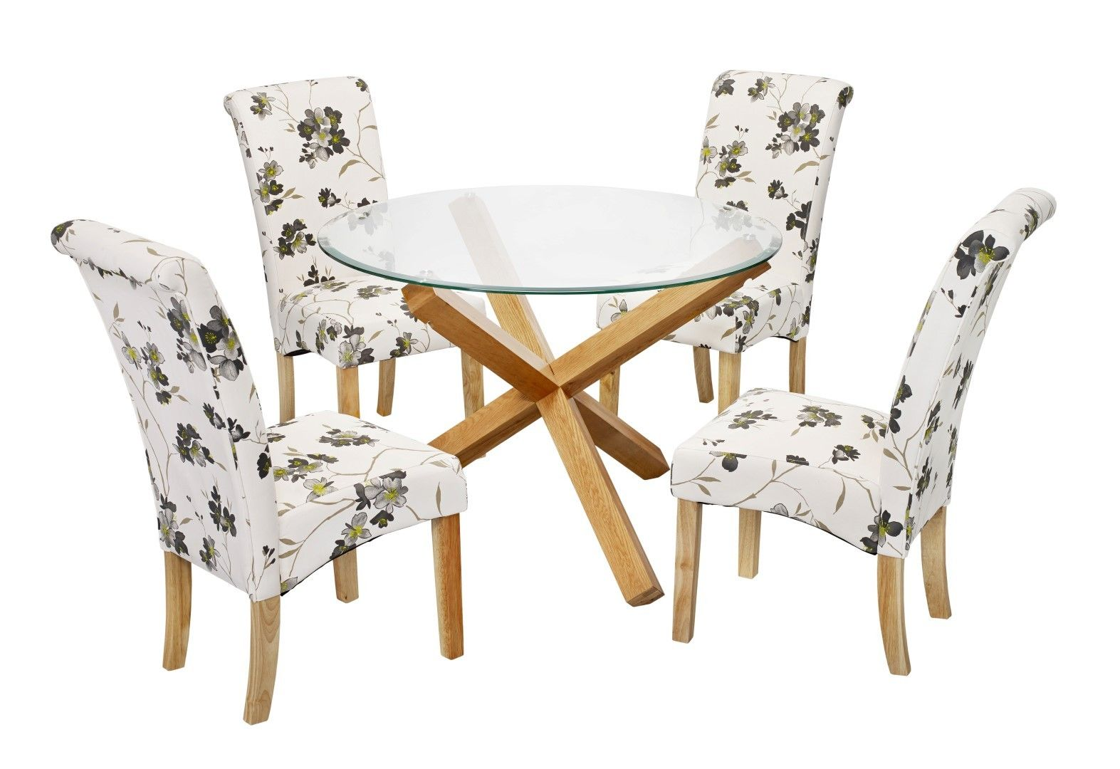 The Oporto Freya Dining Set is a glass top round dining table with solid oak leg frame, featuring four matching chairs. The chairs which come with this set are a contemporary chair with a stylish look and high back design with padded seat - http://www.furn-on.com/oporto-freya-dining-set.html