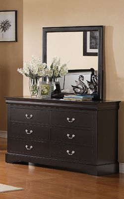 Standard Furniture Lewiston Black Dresser And Mirror Standard