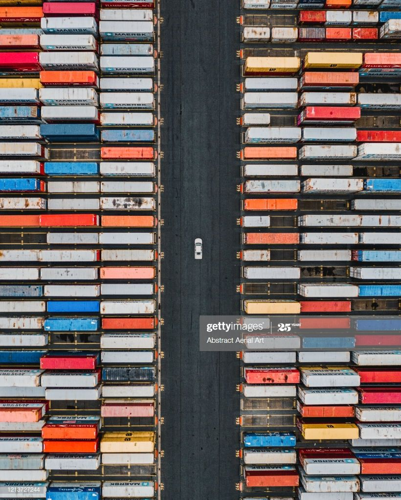 Aerial Shot Of A Vehicle Driving Between Stacks Of Shipping Containers Germany P #Ad, , #AFFILIATE, #Vehicle, #Driving, #Aerial, #Shot