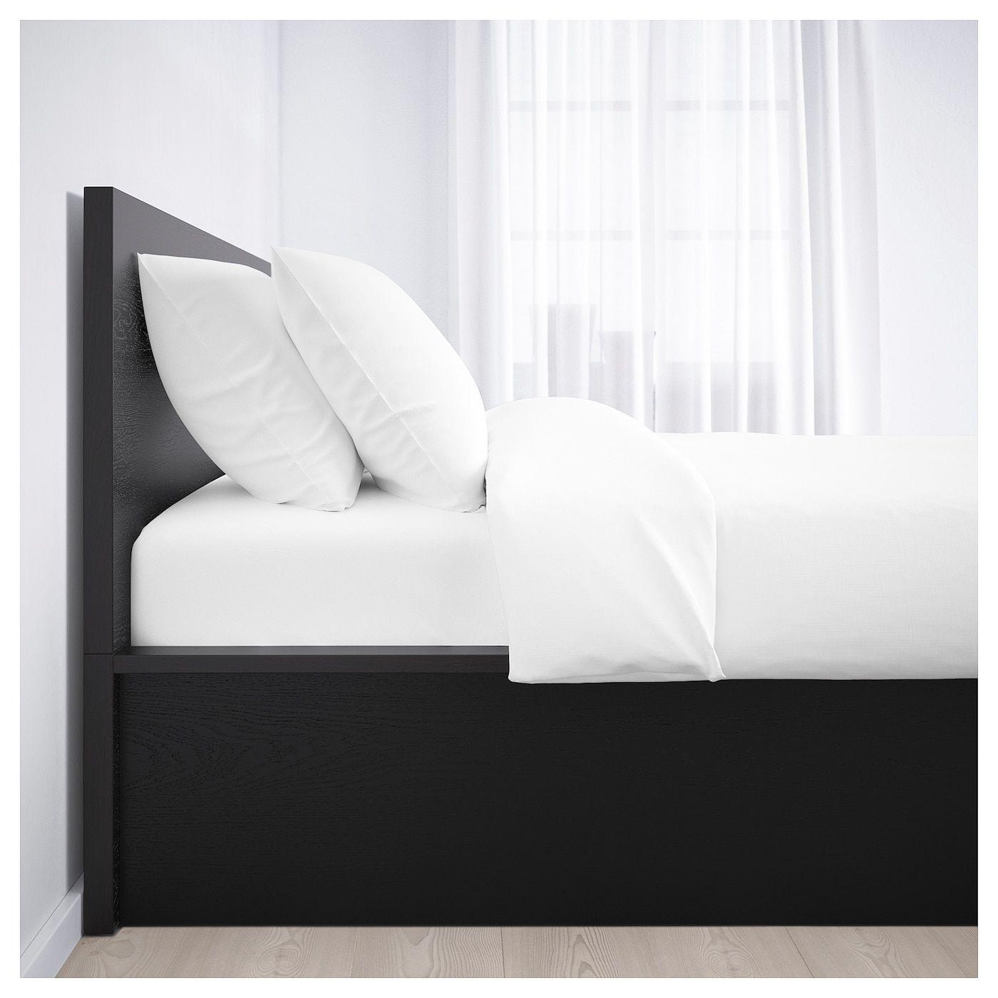 Malm Bettgestell Mit Aufbewahrung Schwarzbraun Bettwasche