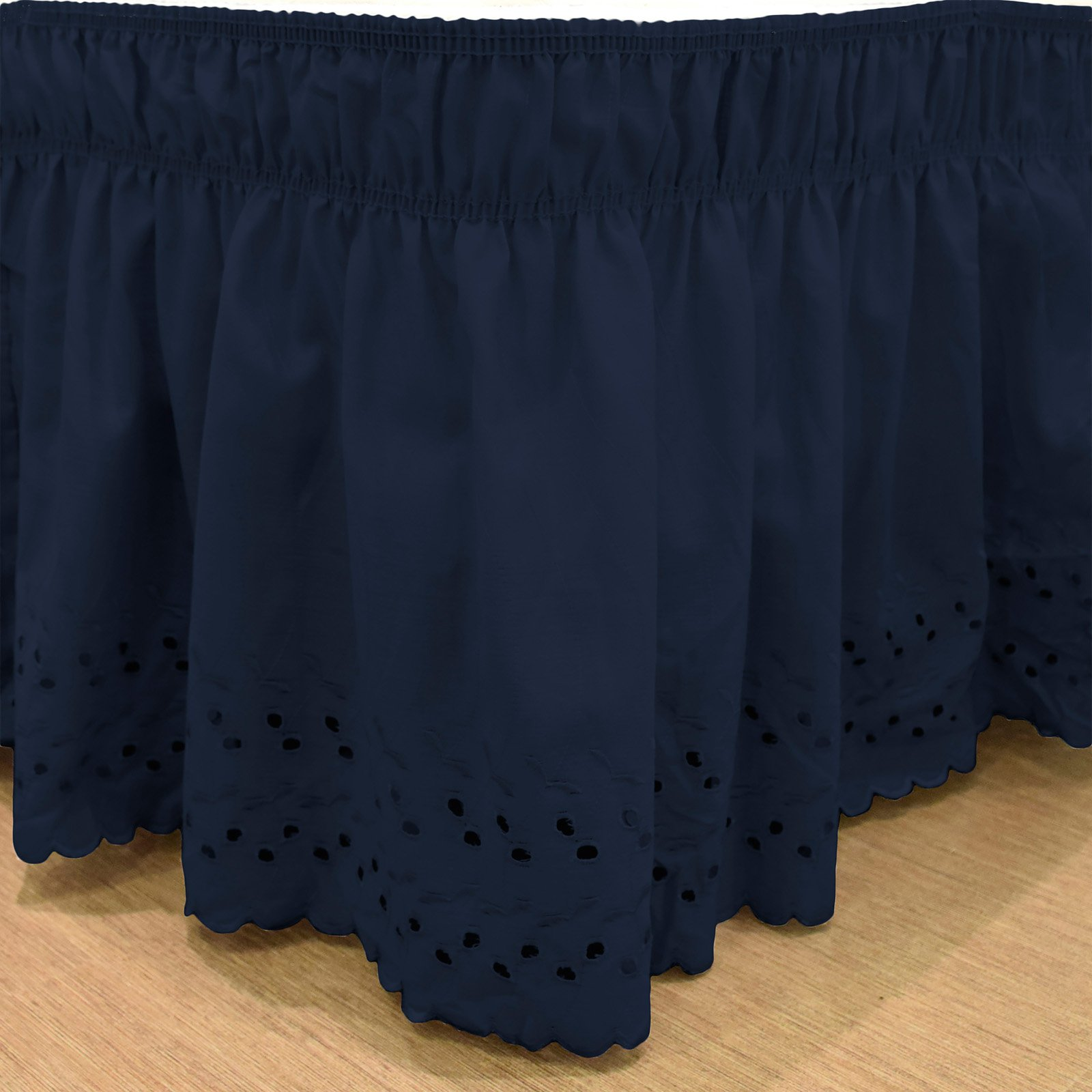 Wrap Around Eyelet Bed Skirt By Easyfit Navy Ruffle Bedding Bedskirt Ruffle Bed Skirts