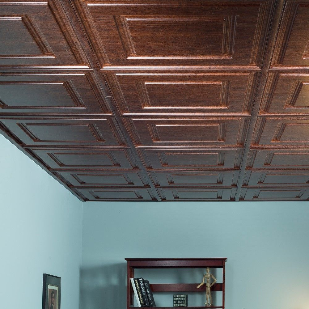 Decorative Wood Ceiling Tiles Fasade Raised Coffer Walnut 2Foot Square Layin Ceiling Tile