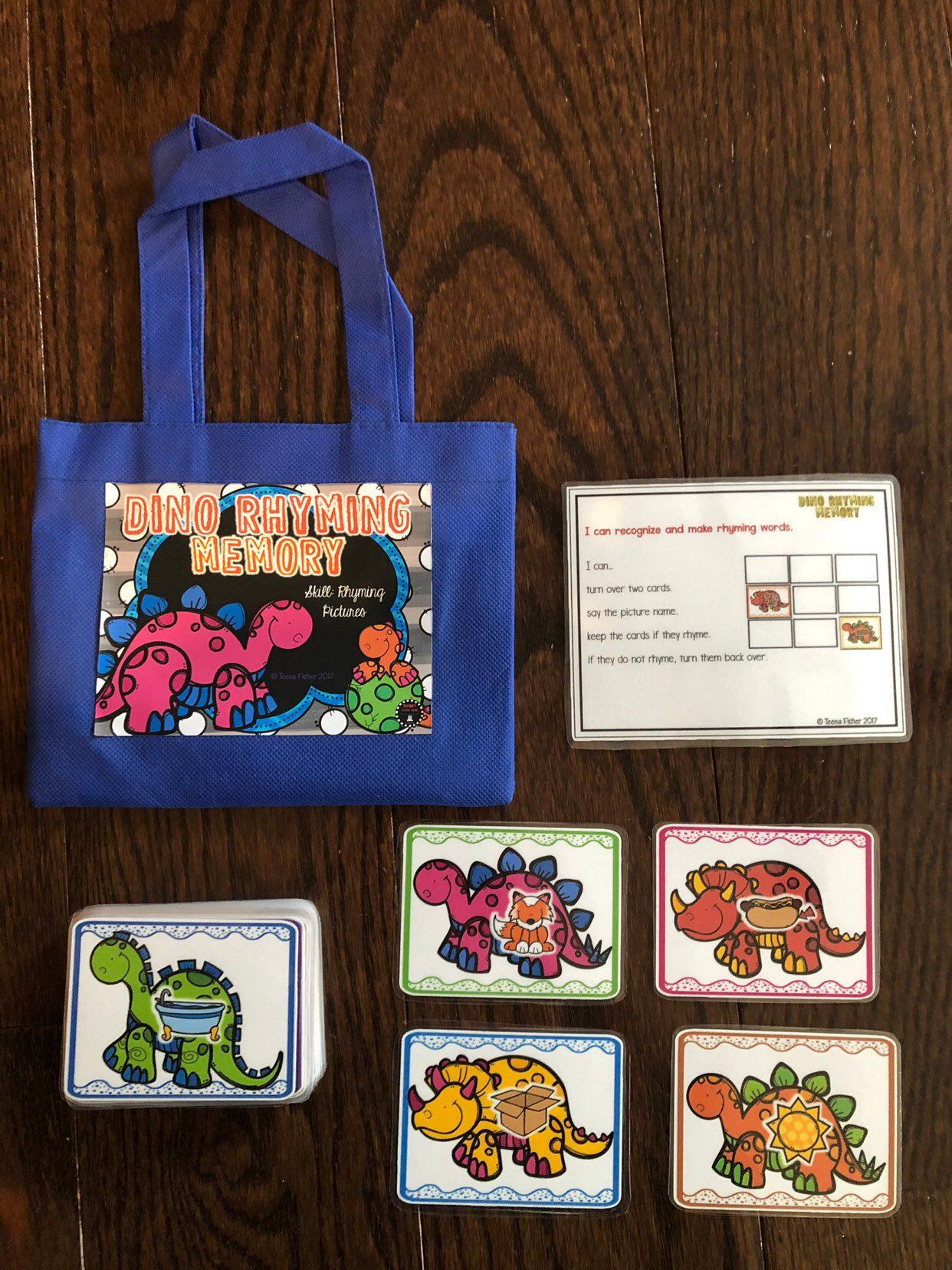 Rhyming Pictures Literacy Phonics Preschool Dinosaurs