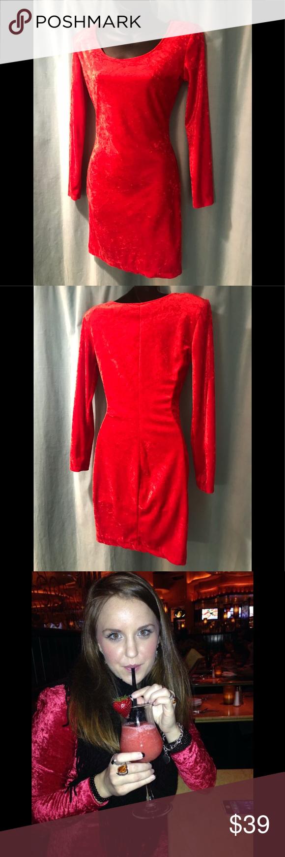 Velvet long sleeve red dress my posh picks pinterest long