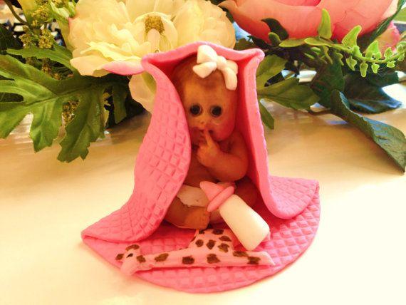 This little girl is so cute. Baby Shower, Birthday, Baptism, Cake Topper, christening, gender, via Etsy