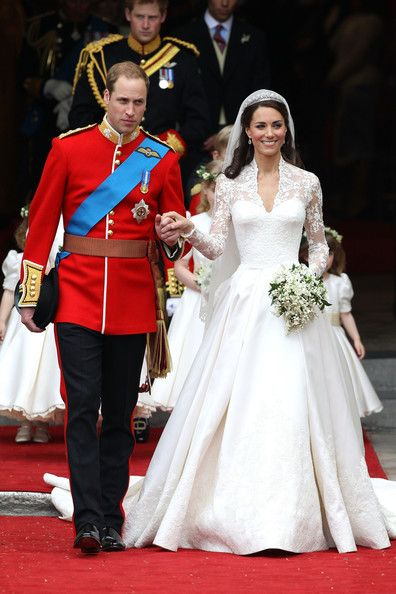 Prince William, Duke of Cambridge and Catherine, Duchess of Cambridge smile following their marriage