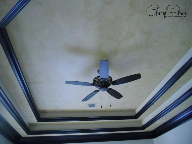Add drama to a tiered ceiling with a faux glazed Faux Finish and decorative painting by Cheryl Phan of ArtzyFartzyCreations.com