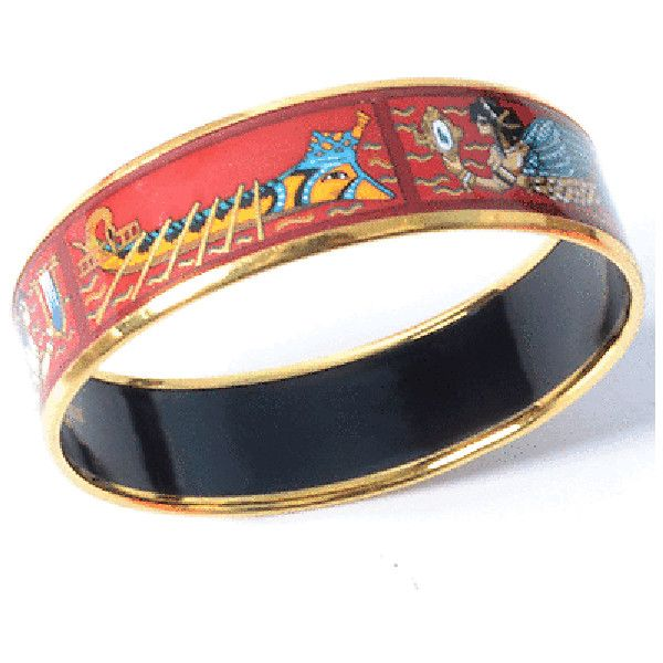 Pre-owned Hermes Wide Egyptian Theme Enamel Bangle (£410) ❤ liked on Polyvore featuring jewelry, bracelets, bangle bracelet, egyptian-inspired jewelry, enamel jewelry, hermes bangle and bracelets bangle