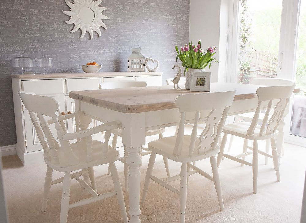 Shabby Chic Solid Pine Farmhouse Table and 6 Chairs painted in Annie