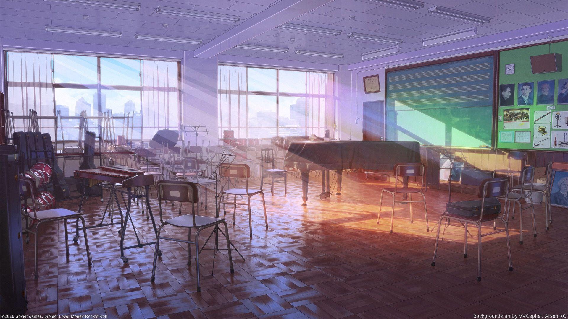 Anime / Manga Classroom Background Music Instruments Piano