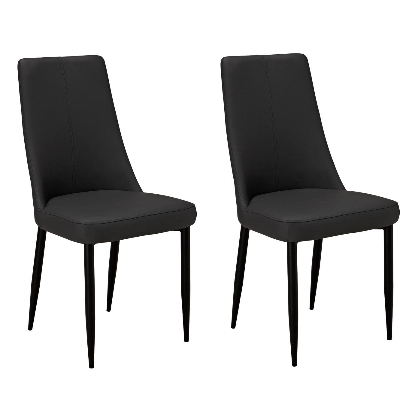 Buy Argos Home Isla Pair Of Faux Leather Dining Chairs Charcoal