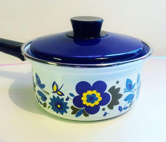 60s swedish Vintage enamel retro pot with lid. Scandi by Inspiria, $30.00