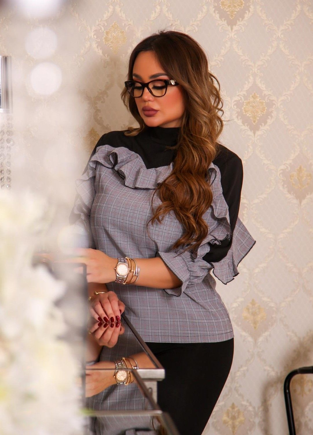 cabf690d76 SHEIN Multicolor Ruffle Trim Plaid Mock Top Elegant Stand Collar Long  Sleeve Workwear Blouse