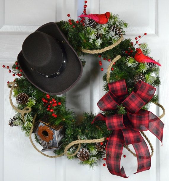 Country Front Door Decorations: Cowboy Christmas Winter Wreath