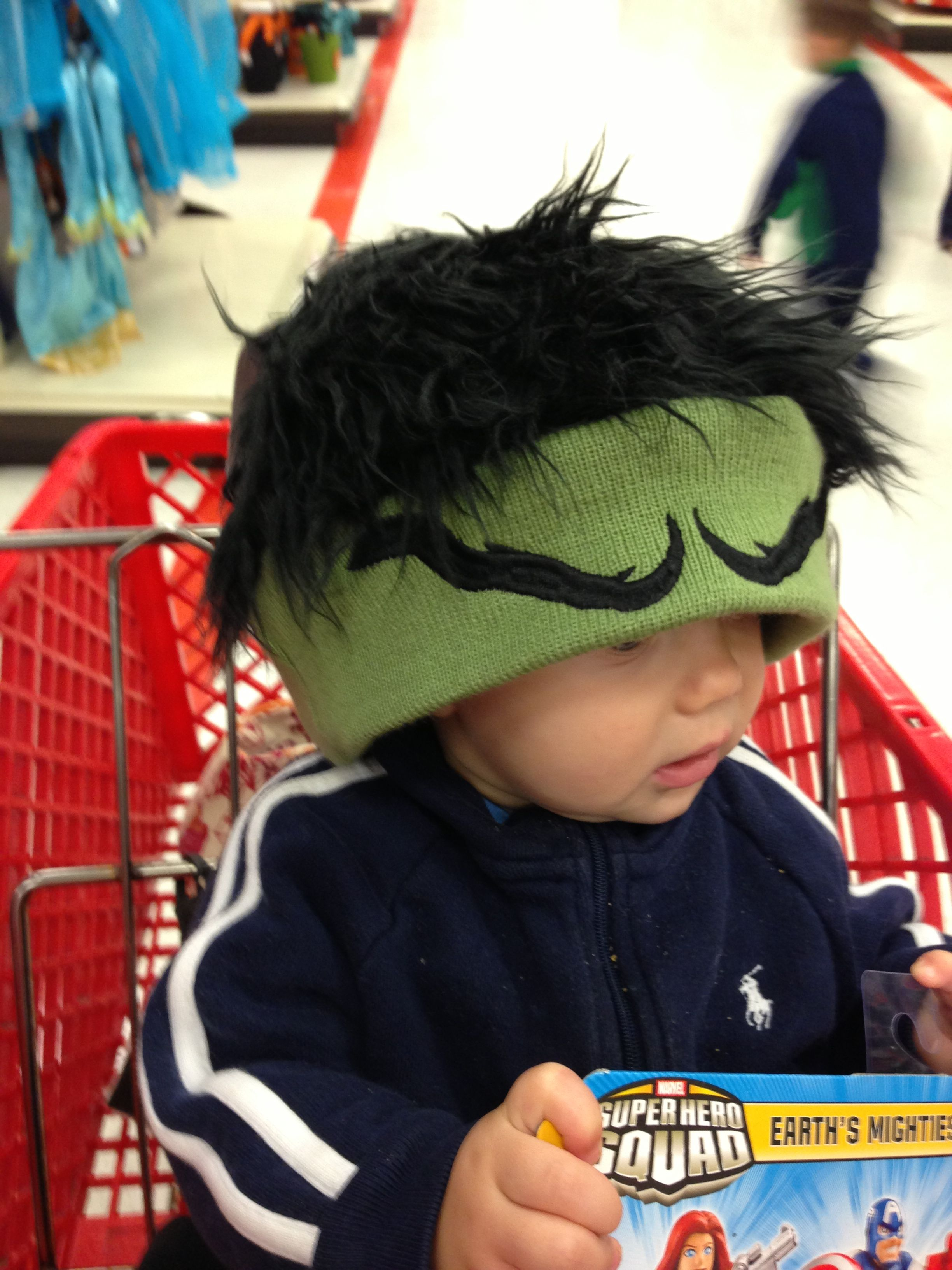 For Hulk costume make fleece hat with hair & eyebrows. This hat is ...