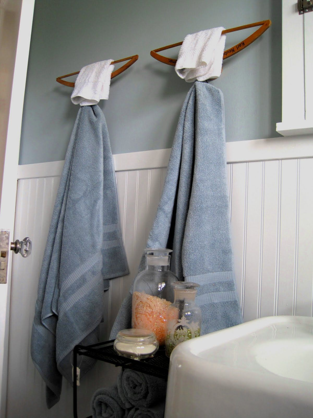 Hangers As Towel Bars Hooks By Junk Camp Dishfunctional - Hanging hand towels bathroom for small bathroom ideas