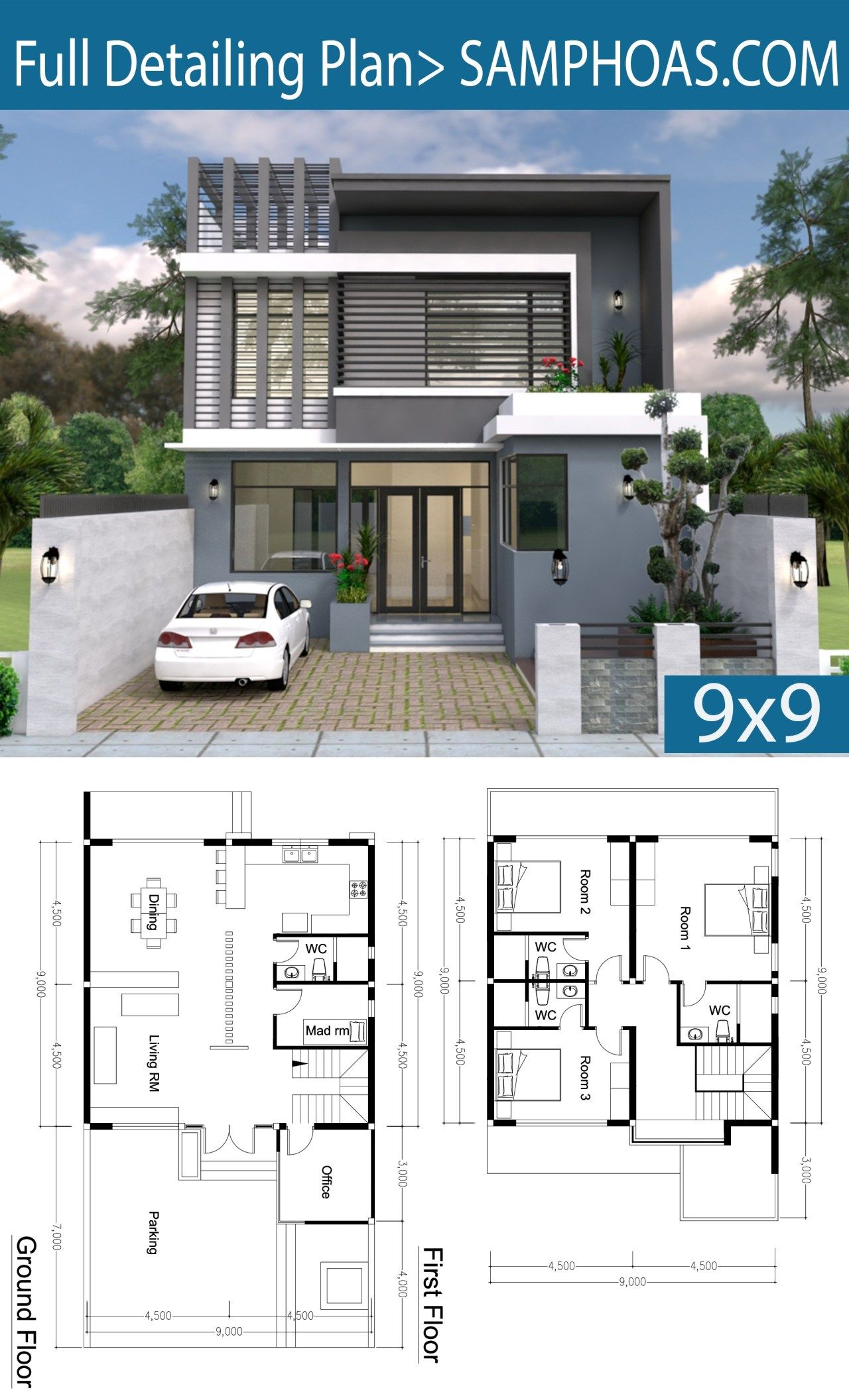 3 Bedroom Modern Home Plan 9x9m Samphoas Plan Architectural House Plans Modern House Floor Plans Modern House Plans