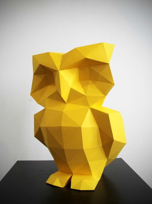 Diy Owl Low Poly Model From Polimind Kit Or Template
