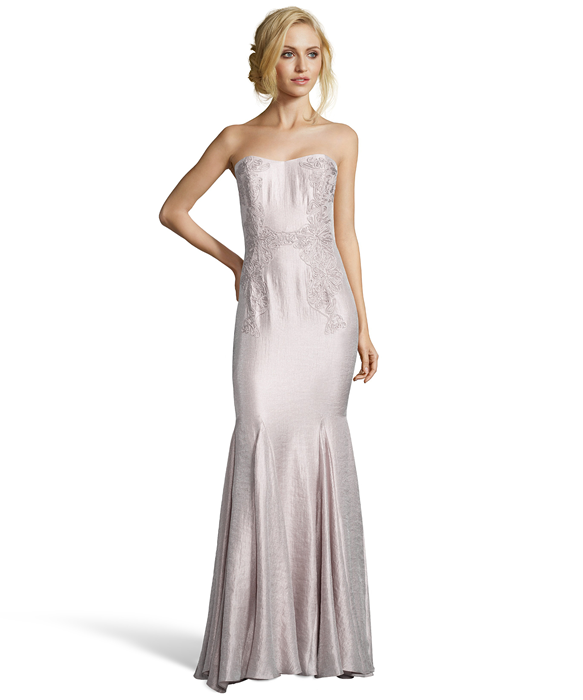 Metallic Blush Crepe Cord Detail Strapless Flared Gown | Crepes ...