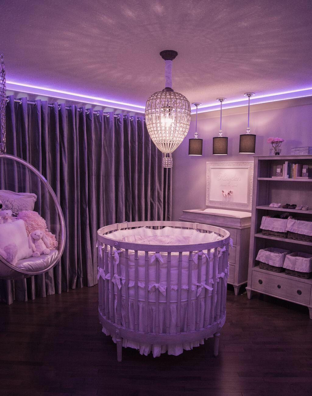 Round Crib Part - 37: Round Crib , Swing , Pink Uplighting . Custom Room .