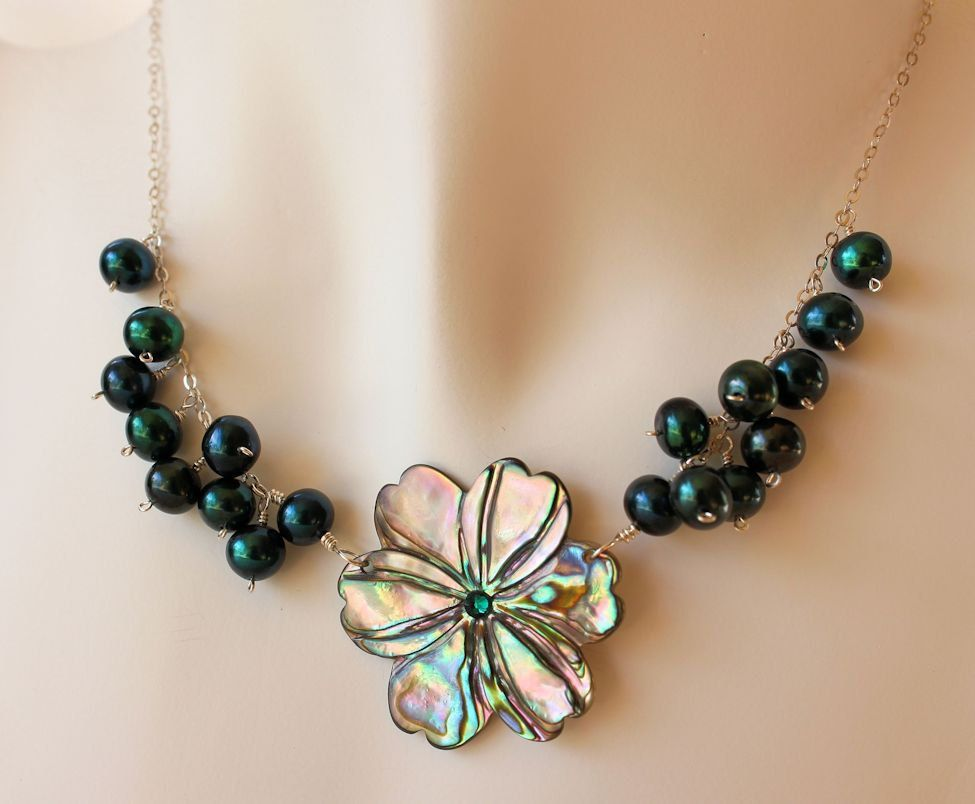 Carved Abalone Shell Plumeria Necklace with Freshwater Pearls on Sterling Silver Delicate Chain by fortheloveofplumeria on Etsy