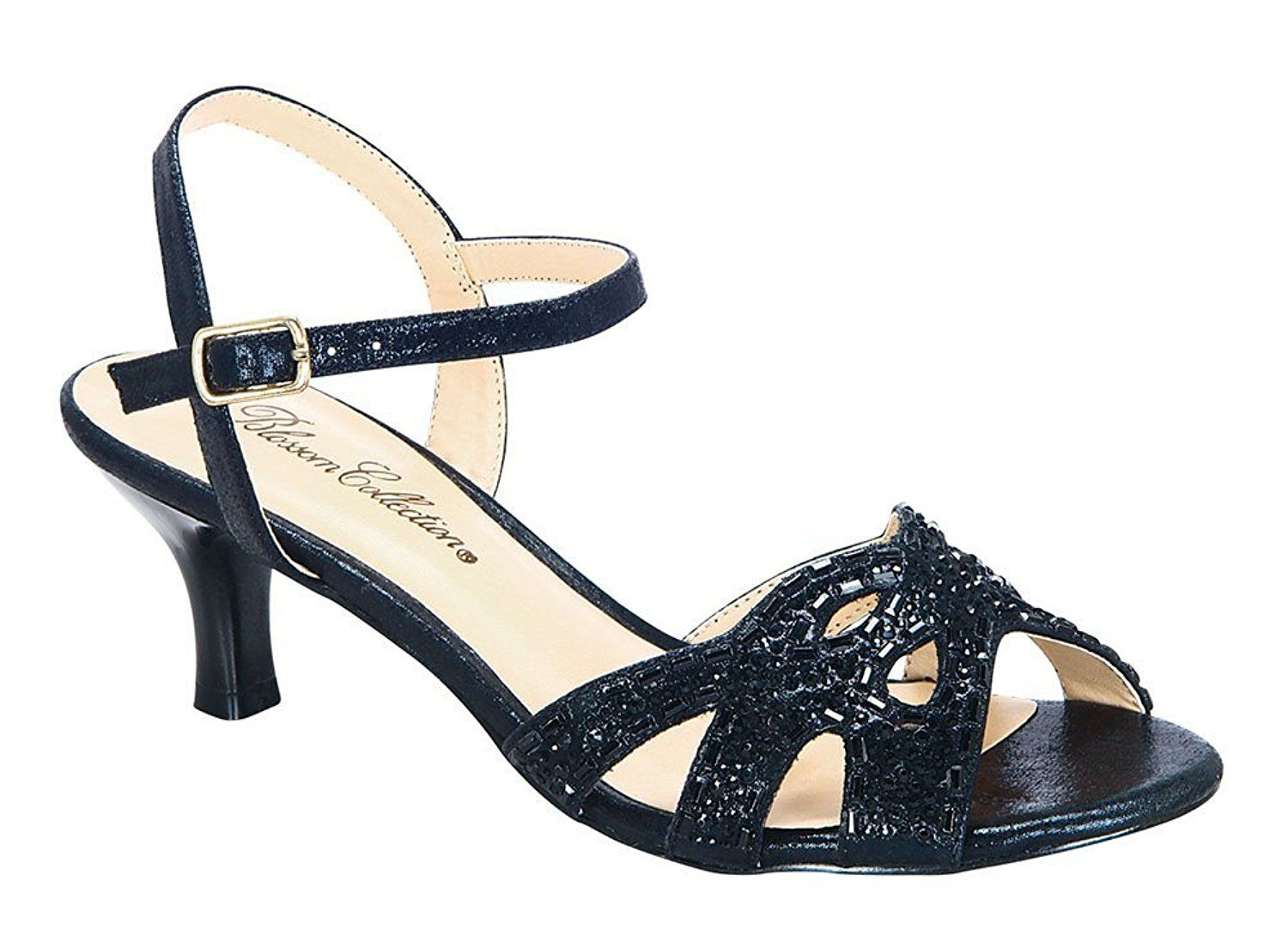 Berk 173 Womena S Rhinestone Open Toe Low Kitten Heel Formal Sandal Additional Details Found At The Image Link La Lace Up Sandals Sandals Womens Sandals