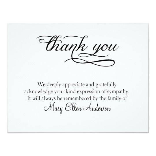 Thank You Funeral Thank You Note Card behreavement Pinterest