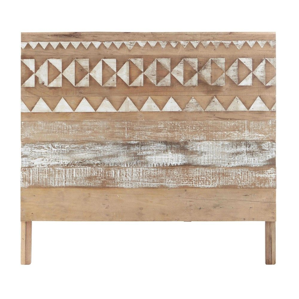 Tete De Lit Ethnique tête de lit à motifs en bois recyclé l 140 cm | tete de lit