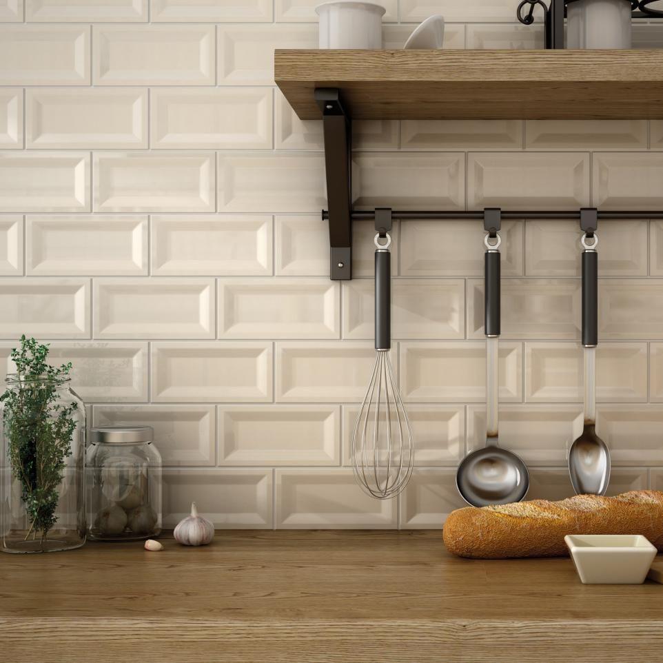 beveled subway tile kitchen tiles