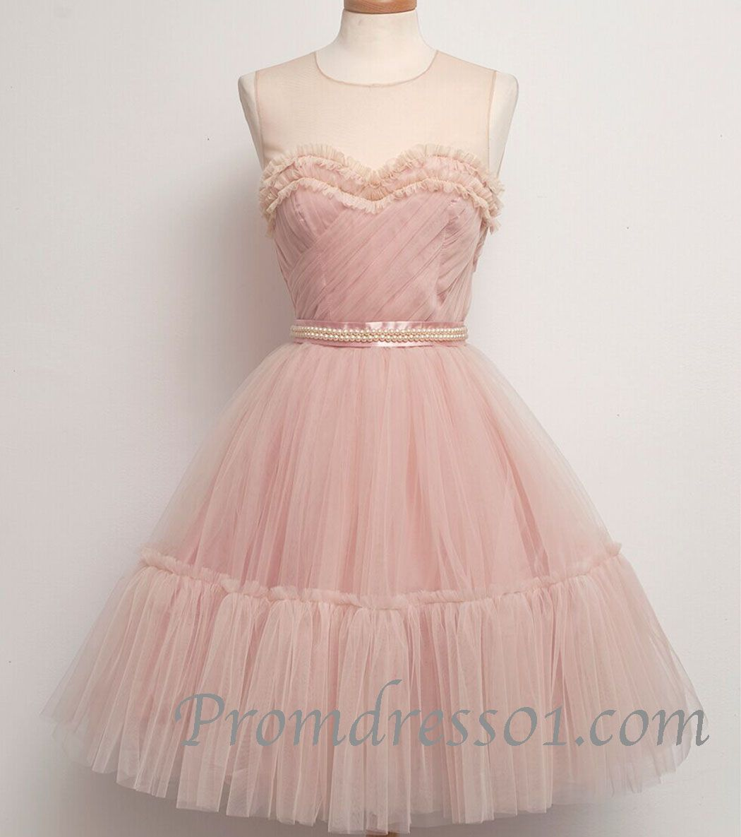 2015 elegant pink sweetheart modest short tulle vintage prom dress ...