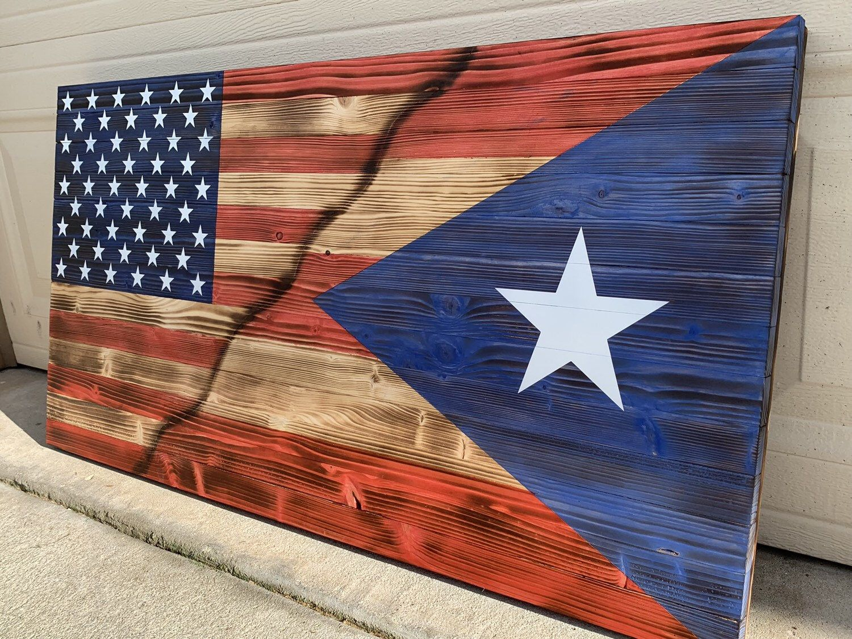 Custom Mixed American Puerto Rican Flag Puerto Rican Flag Puerto Rico Tattoo Puerto Rico Art