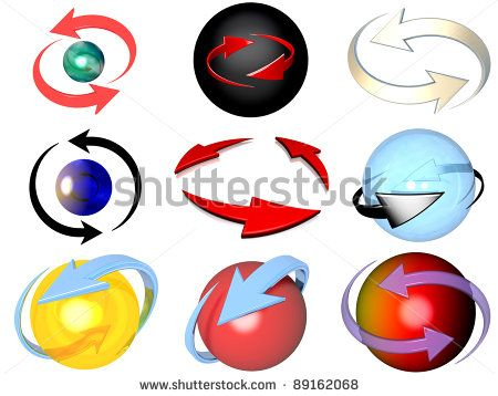Set Of 9 Cyclic Arrows Representations, Referring To Notions Such As Synchronization, Process, Movement, Cyclical Phenomenon, Renewal, Repetition, Rotation, As Well Time Which Is Going Stock Photo 89162068 : Shutterstock
