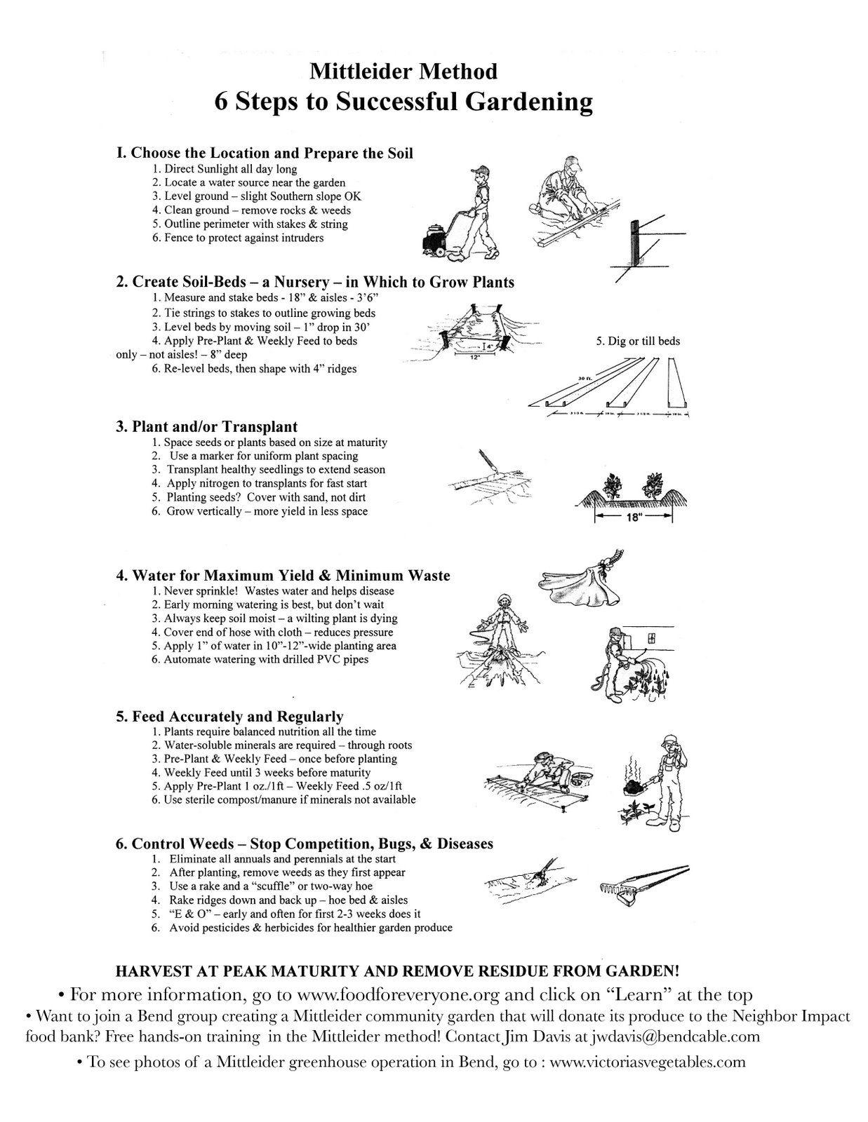 Be Prepared Mittleider Method 6 Steps Handout Mittleider Gardening Gardening Courses Garden Planning