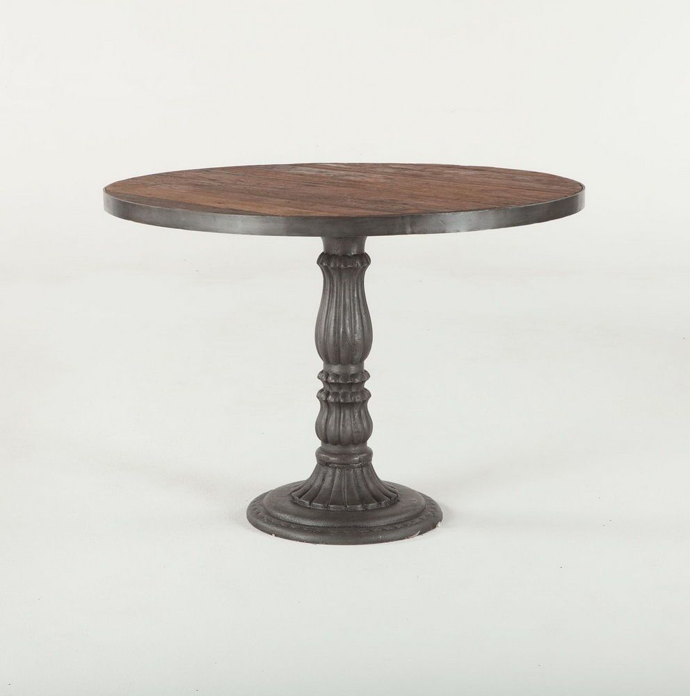 42 Industrial Style Teak Wood Round Dining Table Mango Wood