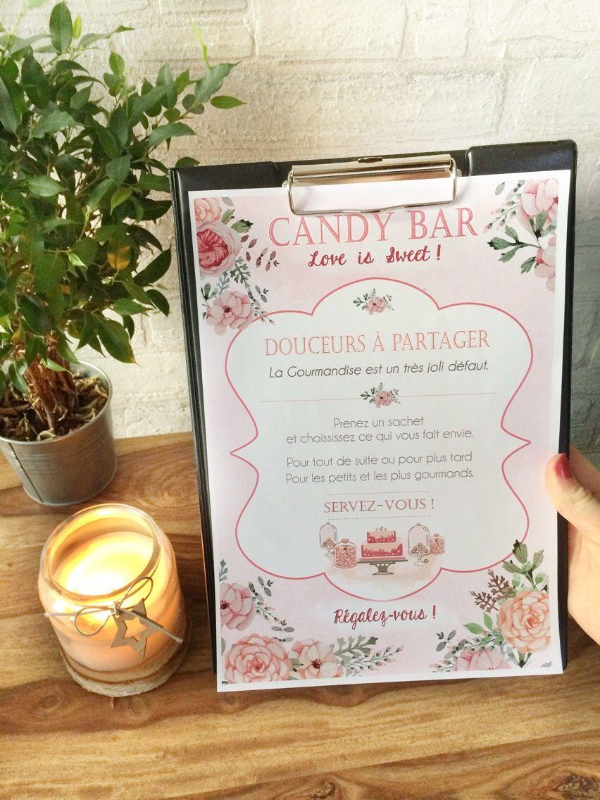 affiche mariage pour candy bar ideal