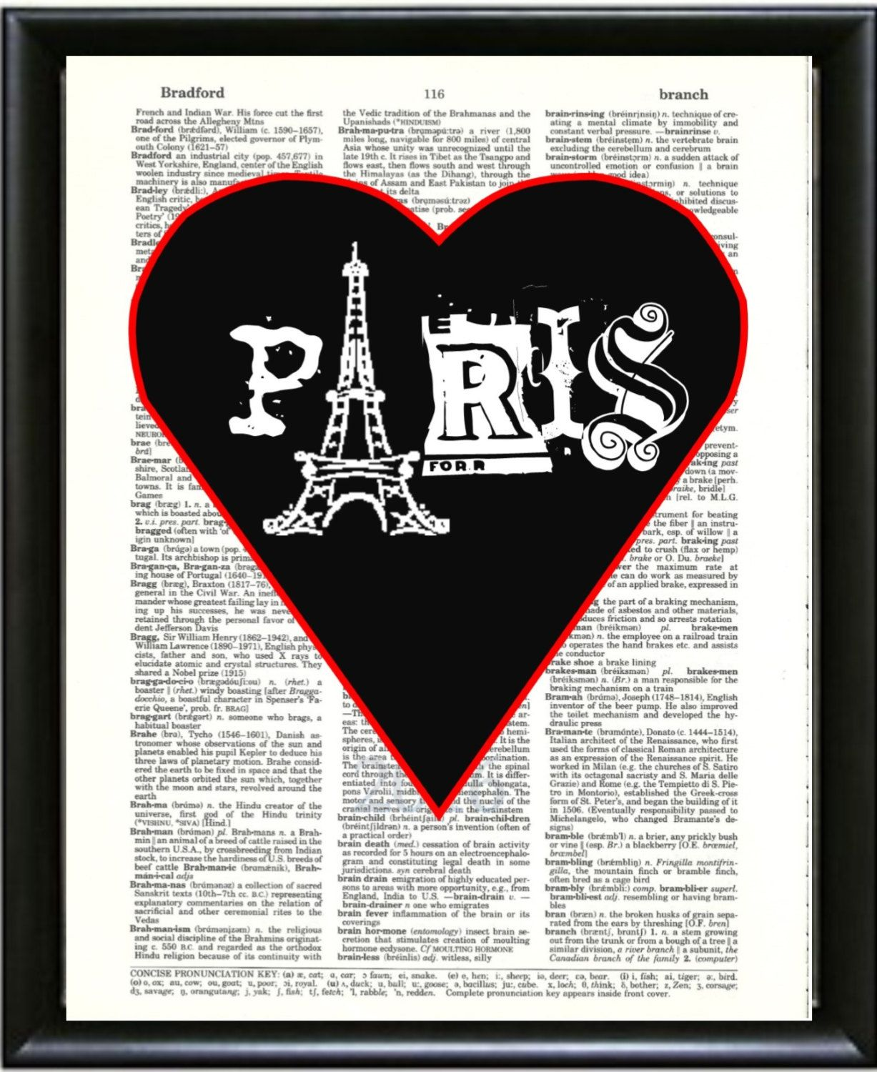 paris in black heart red outline dictionary art print wall decor home decor upcycled art mixed media art dictionary art print dictionary art book art pinterest