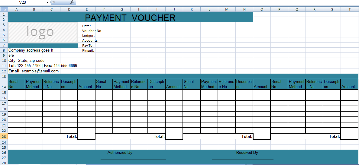 Get Excel Payment Voucher Template XLS – Sample Payment Voucher Template