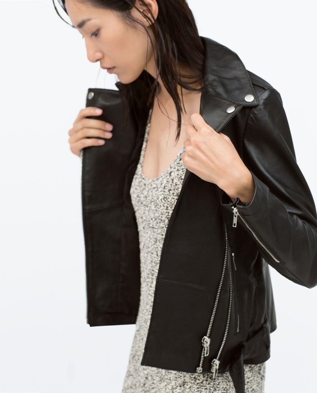 Veste De Motard En Cuir Zippé Zara