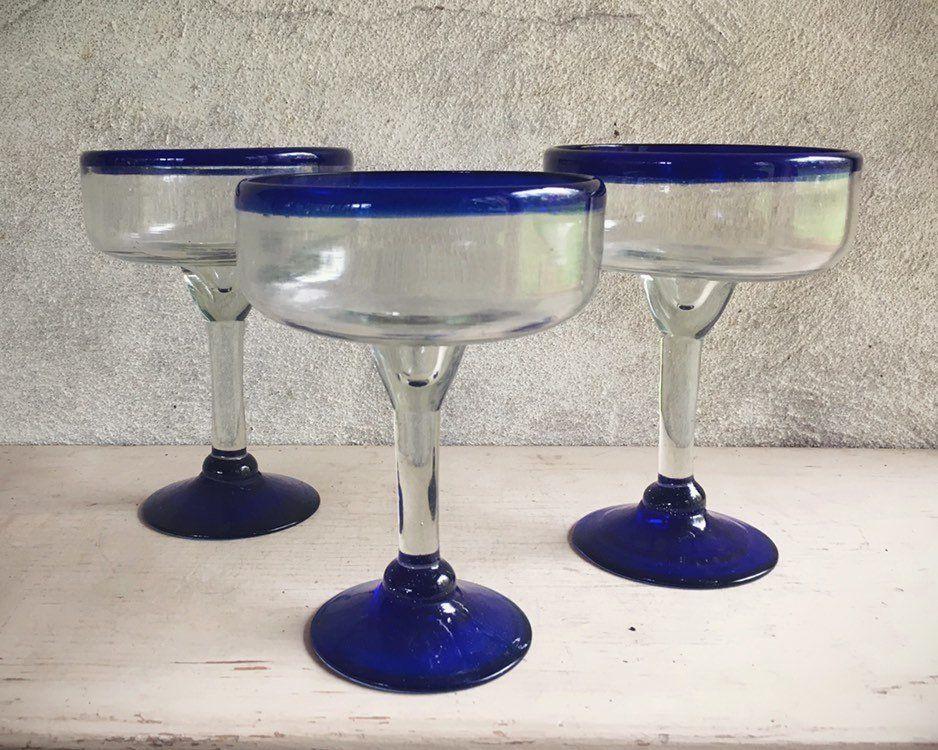 Three Heavy Vintage Mexican Blown Glass Margarita Glasses Blue Rim Cinco De Mayo Day Of Dead Party Glass Margarita Margarita Margarita Glasses