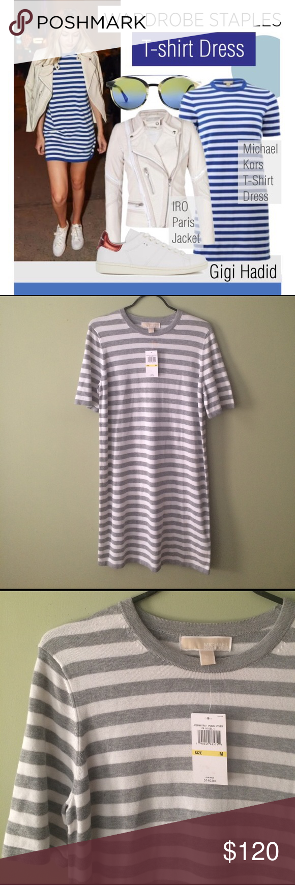 Michael kors dress michael kors striped t shirt dress lightweight