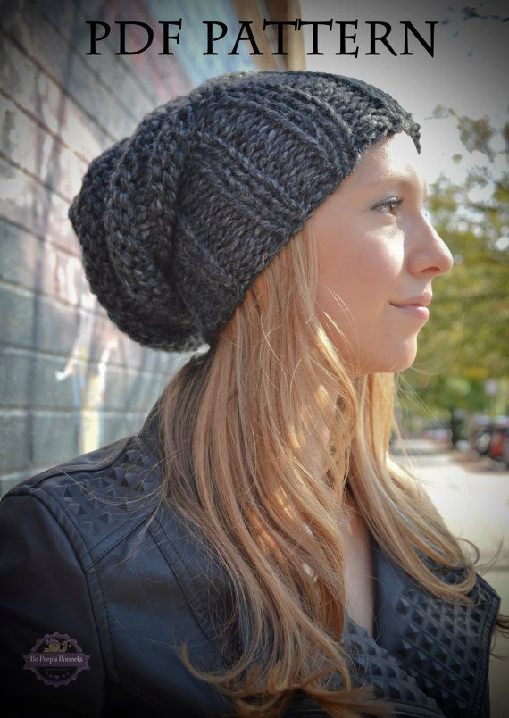 Knitting Pattern Womens Slouchy Hipster Beanie Knit Hat Pattern