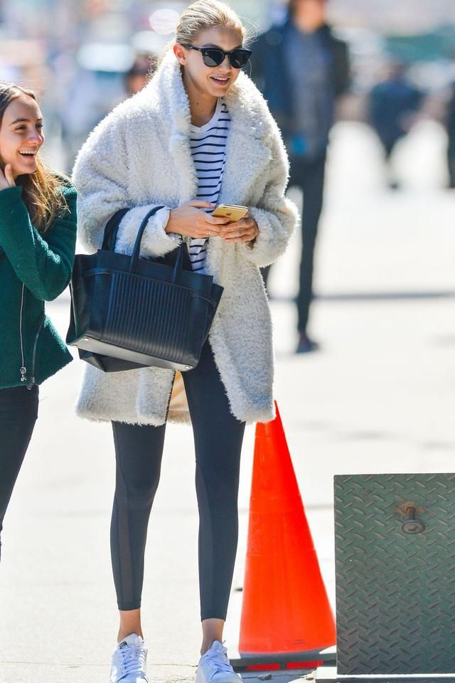 09464b4fea5a Gigi Hadid s shaggy white coat (spotted in New York City)