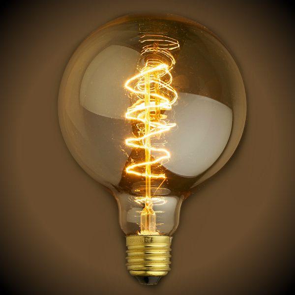 Nostalgic Globe G30 Spiral Filament Vintage Light Bulb 40 Watt Vintage Light Bulbs Light Bulb Edison Lighting