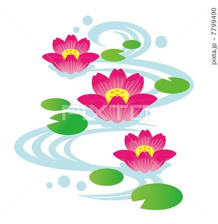 蓮の花咲く水流 蓮 イラスト イラスト 花 デザイン